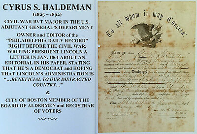 CIVIL WAR MAJ PRESIDENT LINCOLN EDITOR DISCHARGE DOCUMENT SIGNED 132nd PA INFANT
