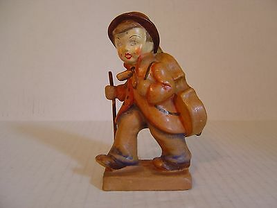 Vintage Pottery Figurine Of Boy Carrying Bass Cello On Back Made In Hungary