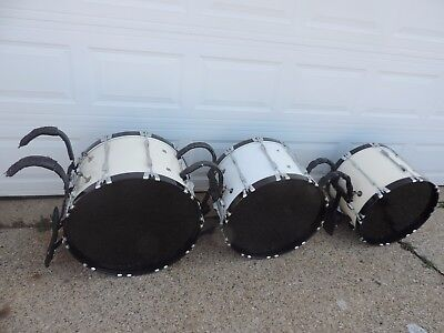 Pearl Competitor Series Marching Bass Drum Line 20 22 24 New Heads 3 Drums