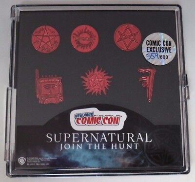 NYCC comic Con 2017 Supernatural Collectors Red Pewter Lapel Pin Set 600 Pieces