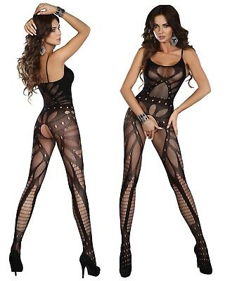Bodystocking S/M/L Netzbody Catsuit Nylon Overall Anzug Muster ouvert offen sexy