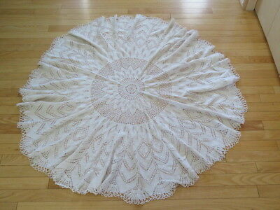 """Vintage Knitted Tablecloth  - 48"""" Diameter - Beige - Round"""