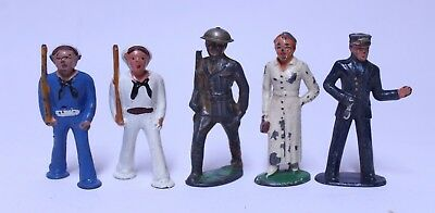 Nice Lot Of 5 Vintage Barclay Manoil Lead Soldier Figures