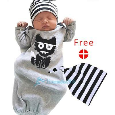 Newborn Baby Boy Gown Monster Printed Long Sleeve Toddler Sleeper Warm Outfit