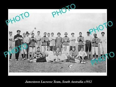 OLD LARGE HISTORIC PHOTO OF JAMESTOWN SA, THE TOWN LACROSSE TEAM c1912