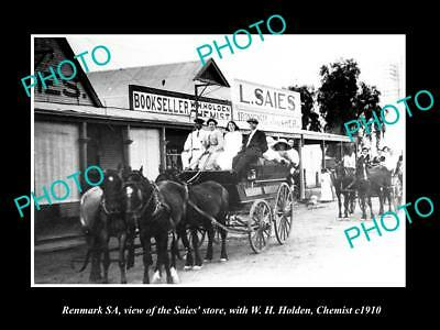 OLD LARGE HISTORIC PHOTO OF RENMARK SA, THE SAIES STORE & CHEMIST SHOP c1910