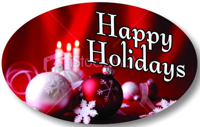 """1.25"""" x 2"""" HAPPY HOLIDAYS C&O LABELS 500 PER ROLL GREAT STICKERS"""