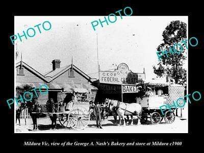 OLD LARGE HISTORIC PHOTO OF MILDURA VIC, VIEW OF THE NASH BAKERY STORE c1900