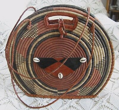 """African Coiled Coil Woven Sisal Basket Leather Sea Shell Hand Made Purse 15"""""""