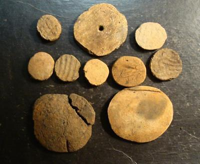 10 AL. Indian Artifacts-Mississippian Stamp Pottery Game Disc-EX. DR. BURKE