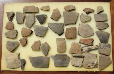 38 LARGE ALABAMA Indian Artifact-Mississippian Stamp Pottery Shards-EX. DR BURKE