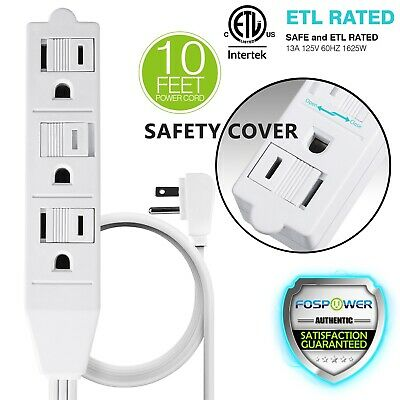 [ETL Listed] 3 Outlet Wall Tap Power Strip Adapter Flat Plug Extension Cord 10FT