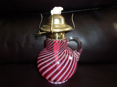 Antique Cranberry OPALESCENT Swirl FINGER HOLD Glass OIL LAMP, Fenton Glass