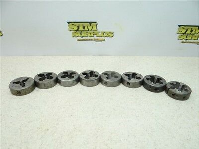 """Lot Of 8 1-1/2"""" Hss Round Dies 1/4""""-20Nc To 11/16""""-40 Threadwell Trw Ace Widell"""