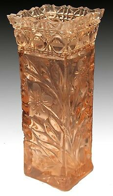 Vintage Heavy Weight Pink Carnival Glass Square Vase With Floral Design