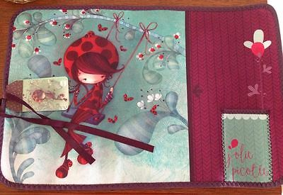 Place mat fabric knitting lady with ladybug new multicolors