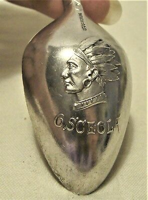 c.1890 GORHAM STERLING SILVER MIAMI BISCAYNE BAY SPOON w INDIAN CHIEF OSCEOLA