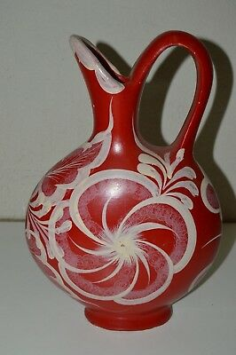 Vintage Handmade Ceramic Red & White Large Water Pitcher Mexico Rare