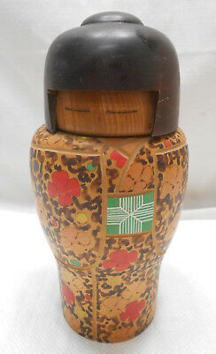 Kokeshi Japanese Doll Vintage Wooden Doll Creative Style Handpainted Floral #465