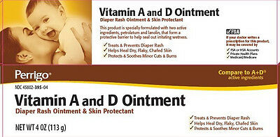 Perrigo Vitamin A&D Ointment 4oz Diaper Rash Ointment and Skin Protectant