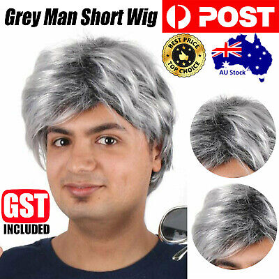 Grandfather Wig Gray Short Wig Hairnet Old Men's Full Cosplay Fashion Wigs Elder