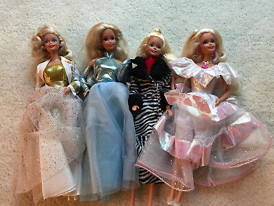 Group Of Four Dressed 1980's-90's Mattel Barbie Dolls  Excellent!