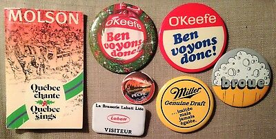 Lot Vintage Brewery Molson O'Keefe Labatt Miller Buttons - Booklet Songs Quebec