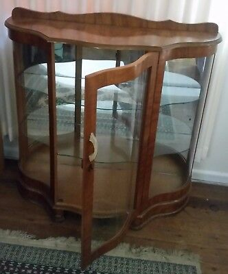 Vintage 1950's Glass China Cabinet and matching coffee/side table