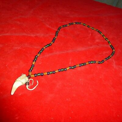 Rare Ca 1850 Native American Plains Indian Beaded Buckskin Large Claw Necklace
