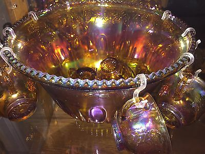 MARIGOLD (Yellow) CARNIVAL GLASS PUNCH BOWL SET + 8 CUPS