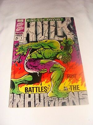 INCREDIBLE HULK KING SIZE SPECIAL #1 Signed by STERANKO / The Inhumans 1968 KEY