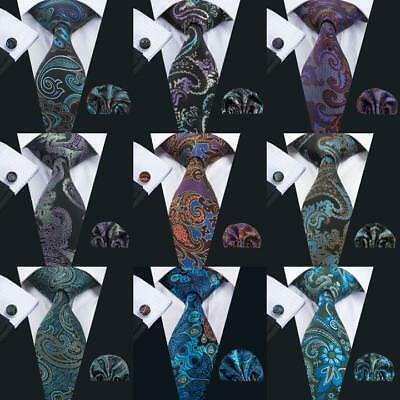 Classic Mens Necktie Silk Tie Set Blue Black Green Paisley Floral Woven Wedding