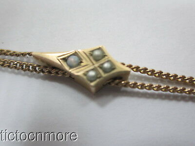 Antique Victorian Double Strand Pocket Watch Chain & Opalescent Star Slide