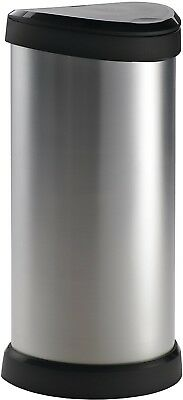 Curver 40 L Metal Effect Plastic One Touch Deco Bin, Easy To Clean, Silver