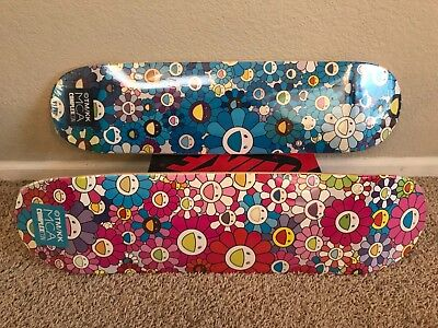 Complexcon Takashi Murakami MCA Skate Deck Set of 2 Blue, Pink Multi Flower