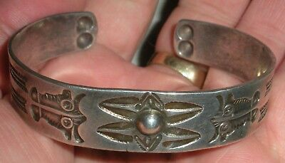 c1920 EARLY FR HARVEY NAVAJO COIN SILVER INGOT BUFFALO ARROW STAMP BRACELET vafo
