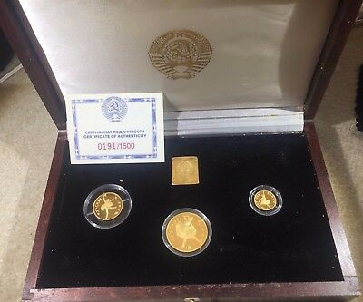 1991 3 COIN GOLD PROOF BALLERINA with COA #191/1500 Russia Soviet Union USSR