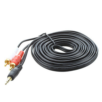 3X(3M Metre 3.5mm Male to 2 x RCA Twin Gold Audio Stereo Speaker Lead DW