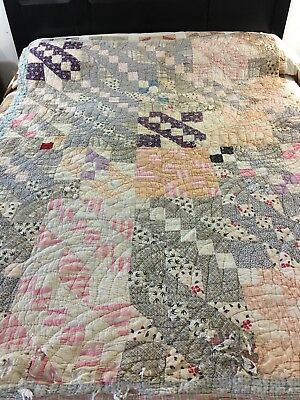 Fabulous Vintage Handmade Rocky Road To California Quilt
