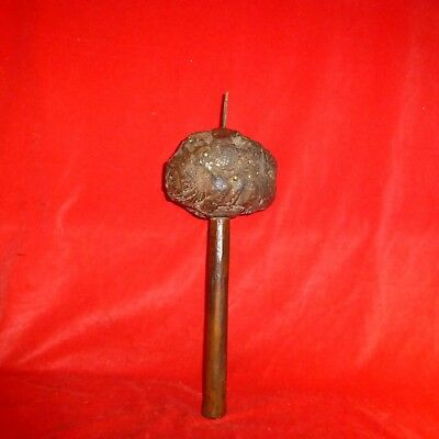 """Rare Early Native American Iroquois Indian Burl Knot Tacked Spike 17"""" War Club"""