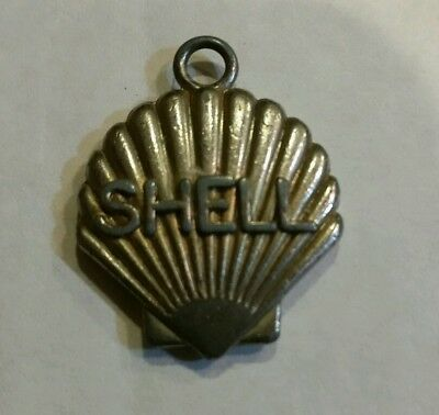 Vintage Shell Oil gas station small metal necklace charm