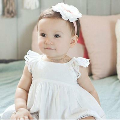 White Newborn Baby Girl Lace Flower Hair Band Hair Accessories Party Head Decor
