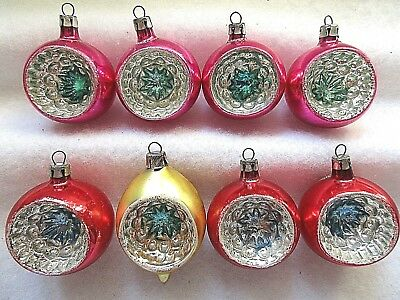 **7**vintage Mercury Glass Christmas Ornaments= All Have A Single Indent, # 6