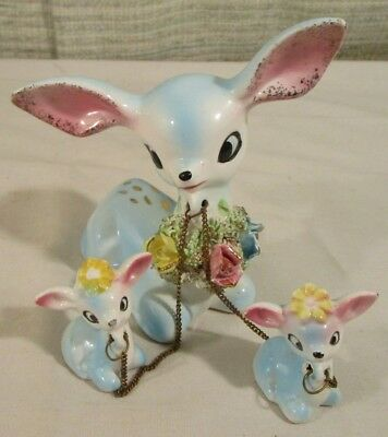 Vintage Norcrest Japan Porcelain Fawn w/ 2 smaller Fawns Chained
