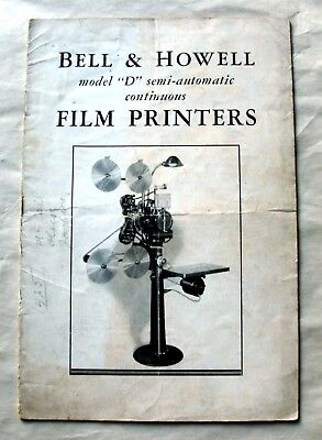 continuous film printer model D booklet 1931 Bell & Howell semi automatic