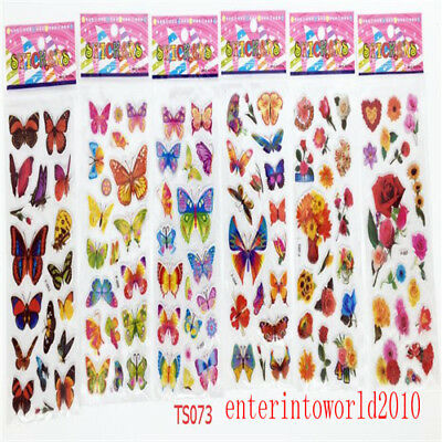 6sheets butterfly stickers lot crafts Teacher Reward kid party gift handmade B35