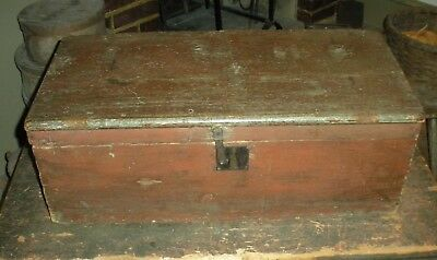 ANTIQUE 1830-50 PRIMITIVE DOCUMENT BOX RED OVER BLUE PAINT FROM SALEM MASS. vafo