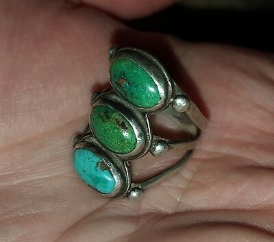ANTIQUE c1900-1910 EARLY NAVAJO TURQUOISE STERLING SILVER RING GREAT STONES vafo