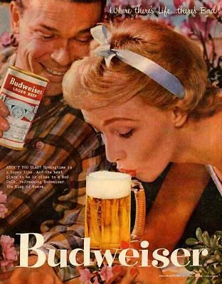 Budweiser Beer Drink Poster Vintage Ad Photo Pic Ale Girl RARE Old Print 886