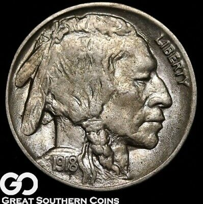 1918-D Buffalo Nickel, Fully Struck Solid Gem, Gorgeous, RARE This Nice!
